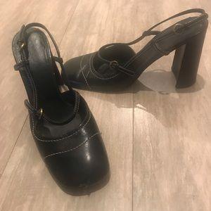 MIU MIU Vintage 90's chunky heels strappy round